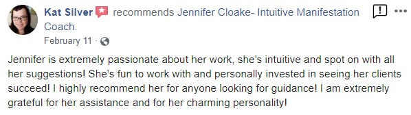 Testimonials for Jennifer Cloake- Kat Silver - Center Of Oneness